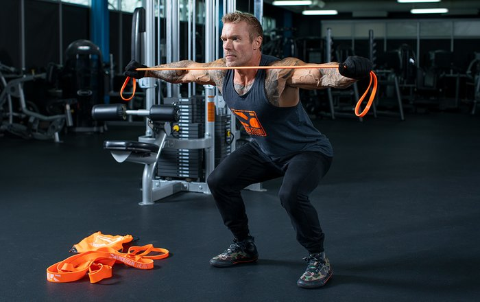 Squat Hold with Band Pull-Apart